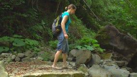 Das Wandern der Schönheit mit Rucksack kreuzt einen Gebirgsfluss im Dschungelnaturpark in den Bergen stock video footage