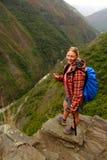 Das Wandern des Inkas schleppt Überschrift zu Machu Picchu stockfoto