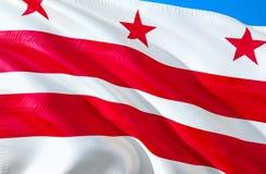 Das Washington Gleichstrom--Weiße Haus C Markierungsfahne 3D, das USA-Staatsflaggenentwurf wellenartig bewegt E C r eingebürgert stock abbildung