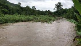 Das Wasser im Fluss ist undurchsichtig und schwer stock footage