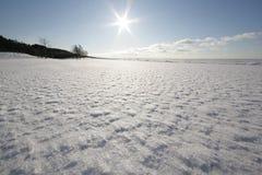 Das Weiß, schneebedeckte Seeküste Stockbilder
