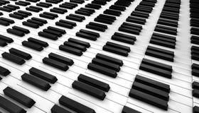 Das weiße Elfenbein und die schwarzen Tasten eines Klaviers Lizenzfreie Stockfotos