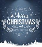 Das Weihnachten und neues Jahr, die auf dunklem Hintergrund mit Winter typografisch sind, gestalten mit Schneeflocken, beleuchten Stockbilder