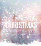 Das Weihnachten und neues Jahr, die auf Hintergrund mit Winter typografisch sind, gestalten mit Schneeflocken, beleuchten, Sterne Lizenzfreie Stockbilder