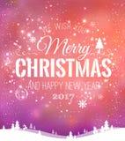 Das Weihnachten und neues Jahr, die auf Hintergrund mit Winter typografisch sind, gestalten mit Schneeflocken, beleuchten, Sterne Lizenzfreie Stockfotografie