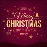 Das Weihnachten und neues Jahr, die auf Hintergrund mit Winter typografisch sind, gestalten mit Schneeflocken, beleuchten, Sterne Stockbild