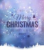 Das Weihnachten und neues Jahr, die auf Hintergrund mit Winter typografisch sind, gestalten mit Schneeflocken, beleuchten, Sterne Stockfotos