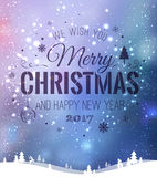 Das Weihnachten und neues Jahr, die auf Hintergrund mit Winter typografisch sind, gestalten mit Schneeflocken, beleuchten, Sterne Lizenzfreie Stockfotos