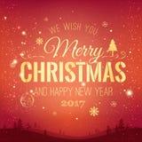 Das Weihnachten und neues Jahr, die auf Hintergrund mit Winter typografisch sind, gestalten mit Schneeflocken, beleuchten, Sterne Stockfotografie