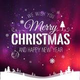 Das Weihnachten und neues Jahr, die auf Hintergrund mit Winter typografisch sind, gestalten mit Schneeflocken, beleuchten, Sterne Lizenzfreies Stockfoto