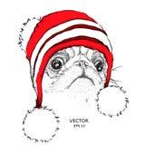 Das Weihnachtsplakat mit dem Bildhundeporträt im Winter Lizenzfreies Stockfoto