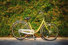 Das Weinlesefahrrad auf buntem Blattwandhintergrund stockfotografie
