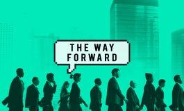 Das Weisen-Vorwärtsziel-voran Visions-Ziel-Erfolgs-Konzept Stockbild