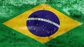 Das Wellenartig bewegen alter Brasilien-Flagge, bereiten für nahtlose Schleife vor stock video footage
