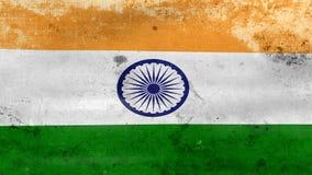 Das Wellenartig bewegen alter Indien-Flagge, bereiten für nahtlose Schleife vor stock footage