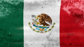 Das Wellenartig bewegen alter Mexiko-Flagge, bereiten für nahtlose Schleife vor stock footage