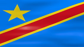 Das Wellenartig bewegen der Flagge des Demokratischen Republiken Kongo, bereiten für nahtlose Schleife vor stock footage