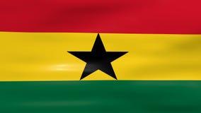 Das Wellenartig bewegen von Ghana-Flagge, bereiten für nahtlose Schleife vor stock abbildung