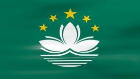 Das Wellenartig bewegen von Macao-Flagge, bereiten für nahtlose Schleife vor stock abbildung