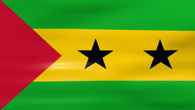 Das Wellenartig bewegen von Sao- Tome und Principeflagge, bereiten für nahtlose Schleife vor stock footage