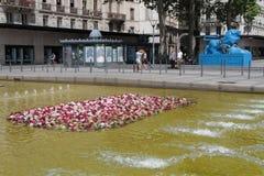 Das Weltfestival von Rosen auf Place de la République in Lyon Lizenzfreie Stockfotos