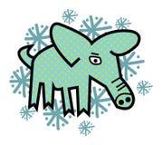 Das Winter-Schwein Stockbild