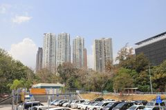 das Wohngebäude im Hong Kong Stockfotos