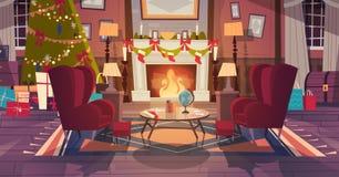 Das Wohnzimmer, das für Weihnachten und neues Jahr, leere Lehnsessel verziert wird, nähern sich Kiefer und Kamin, Hauptinnenausst lizenzfreie abbildung