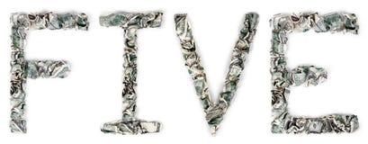 Fünf - Quetschverbundene Rechnungen 100$ stockfotografie