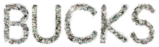 Dollars - quetschverbundene Rechnungen 100$ Stockbild