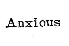 Das Wort ` besorgte ` von einer Schreibmaschine auf Weiß Stockbilder