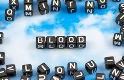 Das Wort Blut stockbild