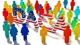 Das Wort DACA mit einer Beschaffenheit der amerikanischen Flagge umgeben durch ein grou vektor abbildung