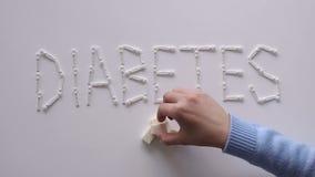 Das Wort DIABETES mit Lanzetten für glucometer auf dem Tisch Hand mit Spritzeinjektor und Insulinphiolen humalog getrennt auf ein stock video