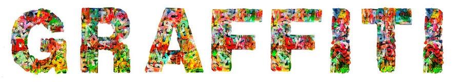 Das Wort GRAFFITI bildete von gemalten hölzernen Buchstaben lizenzfreies stockfoto