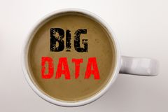 Das Wort, große Daten schreibend simsen im Kaffee in der Schale Geschäftskonzept für Speichernetz-on-line-Server auf weißem Hinte Stockfotos