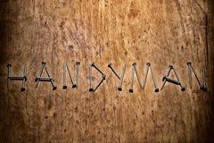 Das Wort ` Heimwerker ` wird durch Schrauben dargestellt Lizenzfreies Stockbild