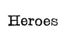 Das Wort ` Helden ` von einer Schreibmaschine auf Weiß Stockbild