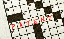 Das Wort PATENT auf Kreuzworträtsel Lizenzfreie Stockfotos