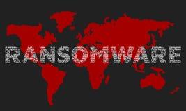 Das Wort ransomware bestanden aus den Namen von Viren auf der Rückseite vektor abbildung