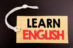 Das Wort, schreibend lernen Englisch Geschäftskonzept für die Online-Verkauf Sprachschule geschrieben auf Preispapier auf der sch stockfotografie