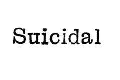 Das Wort ` Selbstmord-` von einer Schreibmaschine auf Weiß Stockfotos