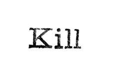 Das Wort ` Tötung ` von einer Schreibmaschine auf Weiß Lizenzfreie Stockbilder