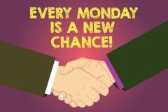 Das Wort, das Text jeden Montag schreibt, ist eine neue Möglichkeit Geschäftskonzept für Anfang Ihre Woche mit Positivismus Motiv stock abbildung