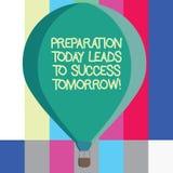 Das Wort, das Textaufbereitung führt schreibt heute, zu Erfolg morgen Geschäftskonzept für Prepare jetzt für zukünftige drei geto stockbilder