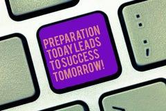 Das Wort, das Textaufbereitung führt schreibt heute, zu Erfolg morgen Geschäftskonzept für Prepare jetzt für Zukunft stockbilder