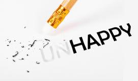 Das Wort unglücklich zu glücklichem ändern Lizenzfreie Stockfotos