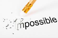 Das Wort unmöglich zu möglichem ändern Stockbild