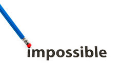 Das Wort unmöglich zu möglichem ändern Stockbilder