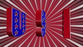 Das Wort USA in den Farben der amerikanischen Flagge vektor abbildung